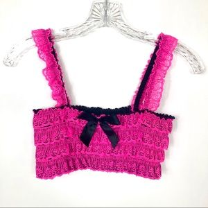 Tops - Neon Pink and Black Ruffled Bralette Crop Top Sexy
